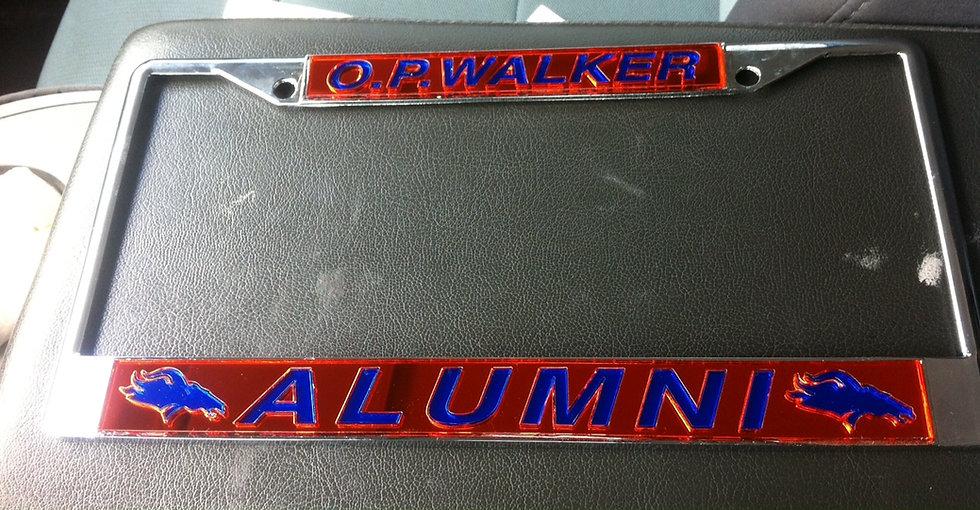 O. P. Walker License Plate Frame in Orange with blue details