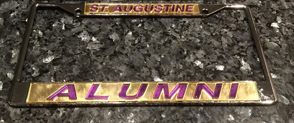 St. Augustune License Plate Frame in Gold with purple details