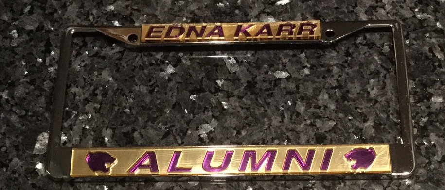 Karr Alumni License Plate Frame in Gold with Purple Lettering