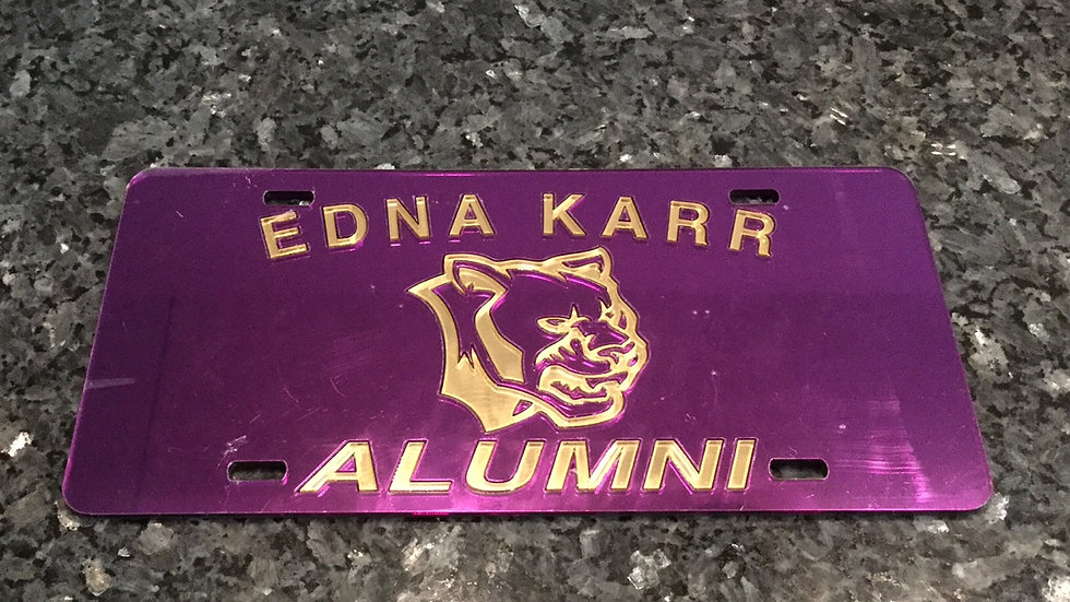 KARR Alumni License Plate in Purple with Gold Lettering
