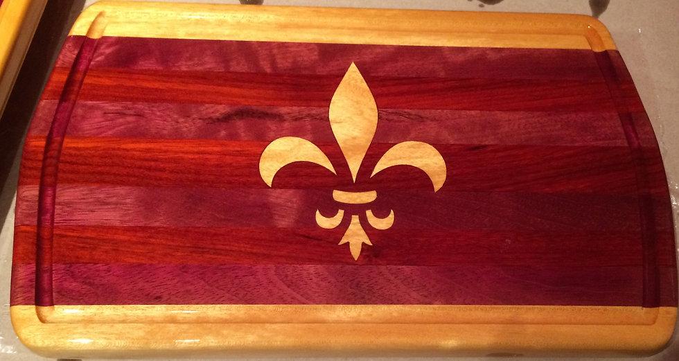 "Fleur De Lis In-laid Mardi Gras Cutting Board 17"" x 10"""