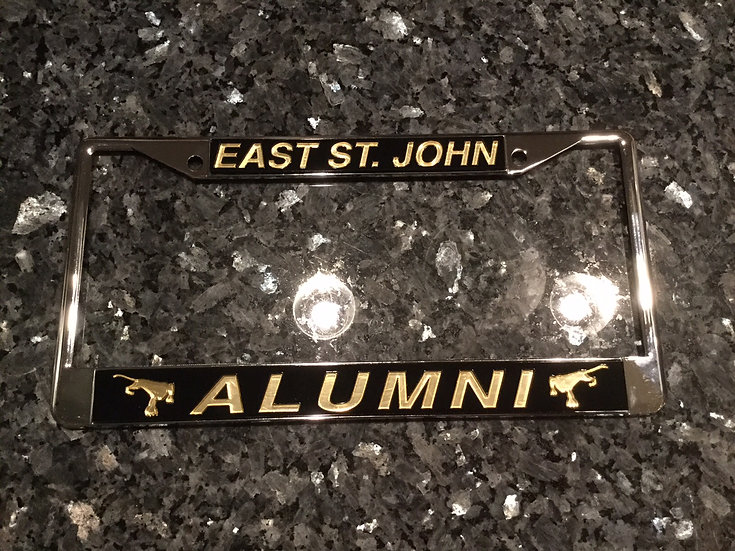 East St. John Alumni License Plate Frame Black with Gold