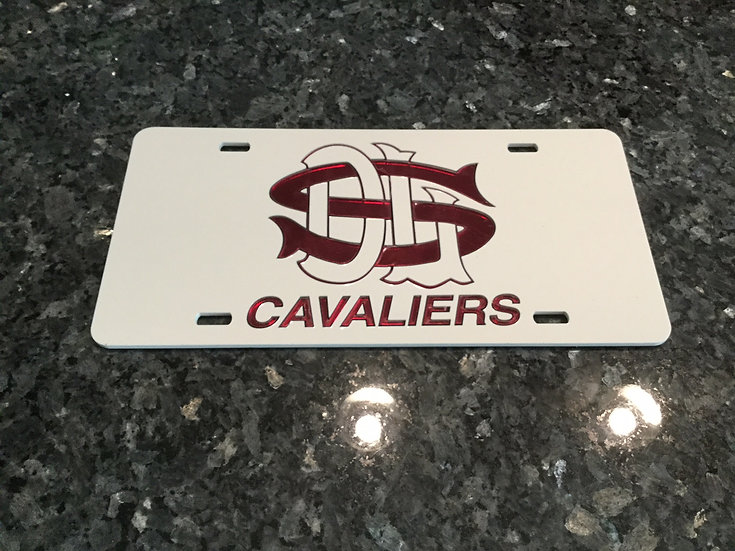 "DeLaSalle ""CAVALIERS"" License Plate in White with maroon details"