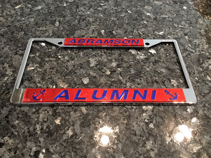Abramson Alumni License Plate Frame in Red with blue details