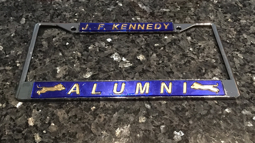 John F. Kennedy Alumni License Plate Frame Blue with gold lettering