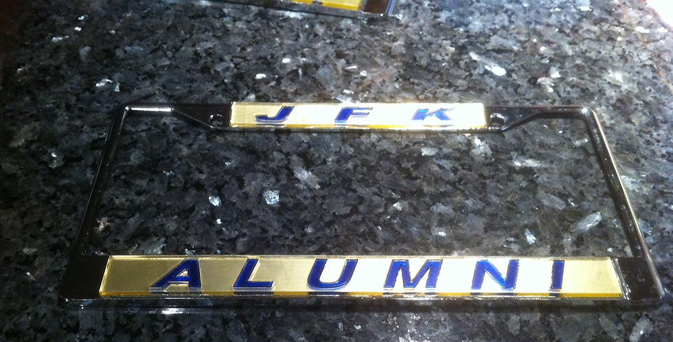 John F. Kennedy High School License Plate Frame in Gold with blue details.