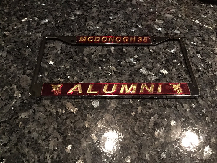 McD35 Alumni License Plate Frame in Maroon with Gold Lettering