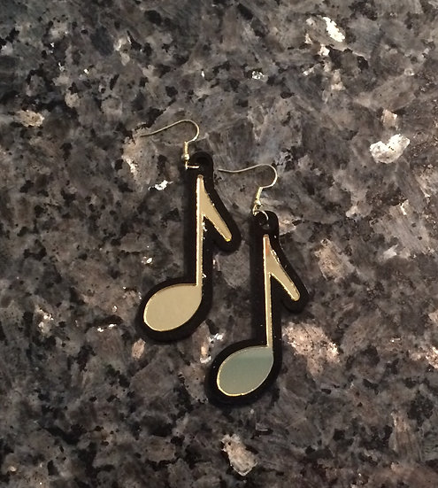 Quarter Note Music Earrings in Gold and Black Acrylic
