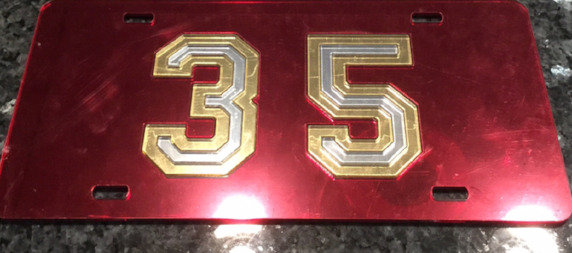 "McD35 ""35 Nuff Said"" License Plate with Maroon BG and gold & silver details"