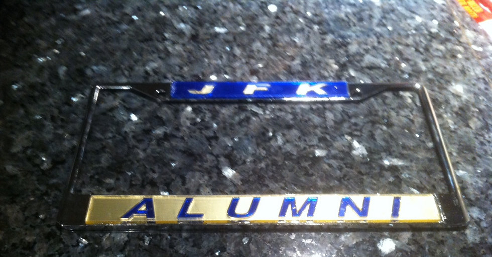 John F. Kennedy High School Plate Frame Combo Blue/gold Top Gold/Blue bottom