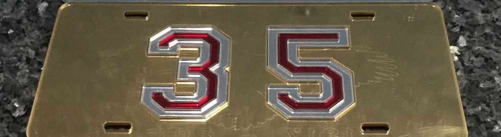 "McD35 ""35 Nuff Said"" License Plate with Gold BG and maroon & silver details"