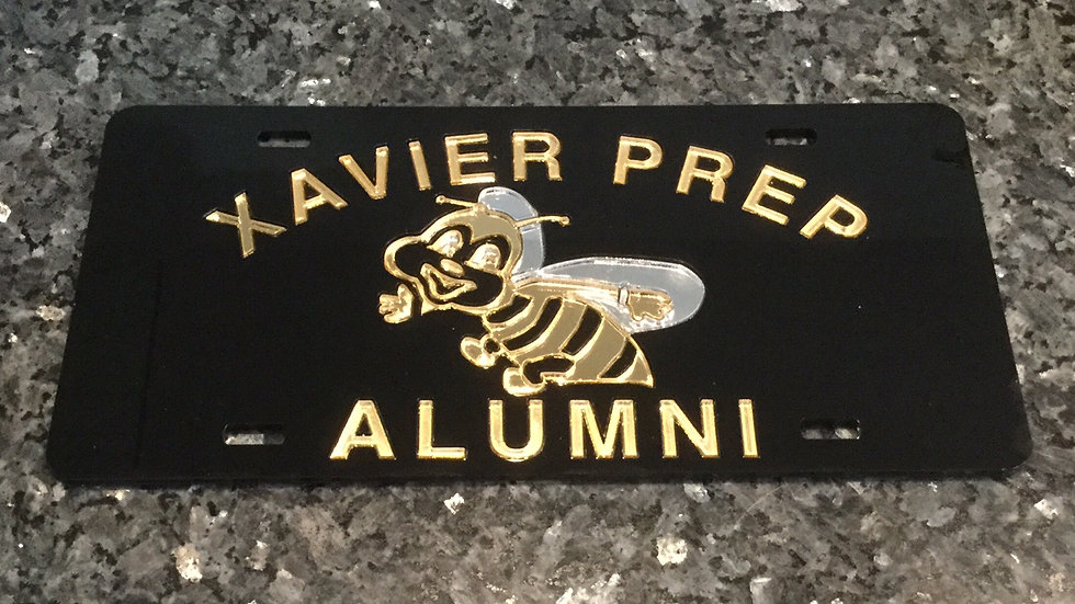 Xavier Prep Alumni License Plate Black withGold