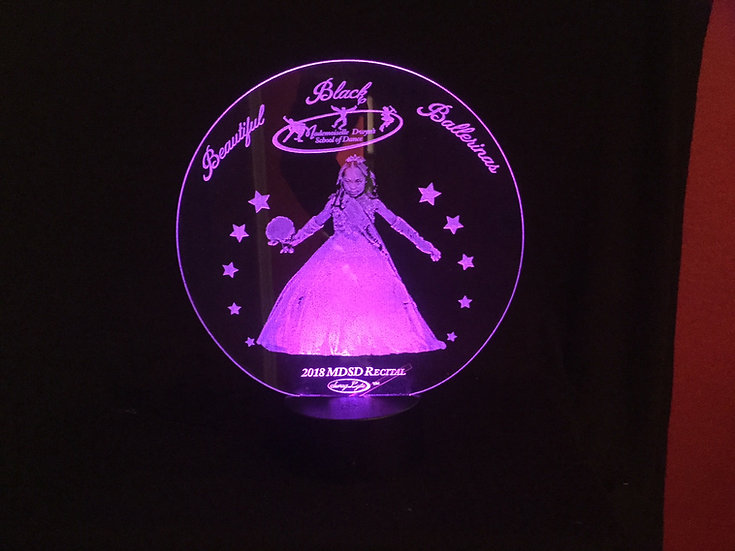 "2018 Recital Small Round ""STARS"" SwagLyte with remote control and USB cable."