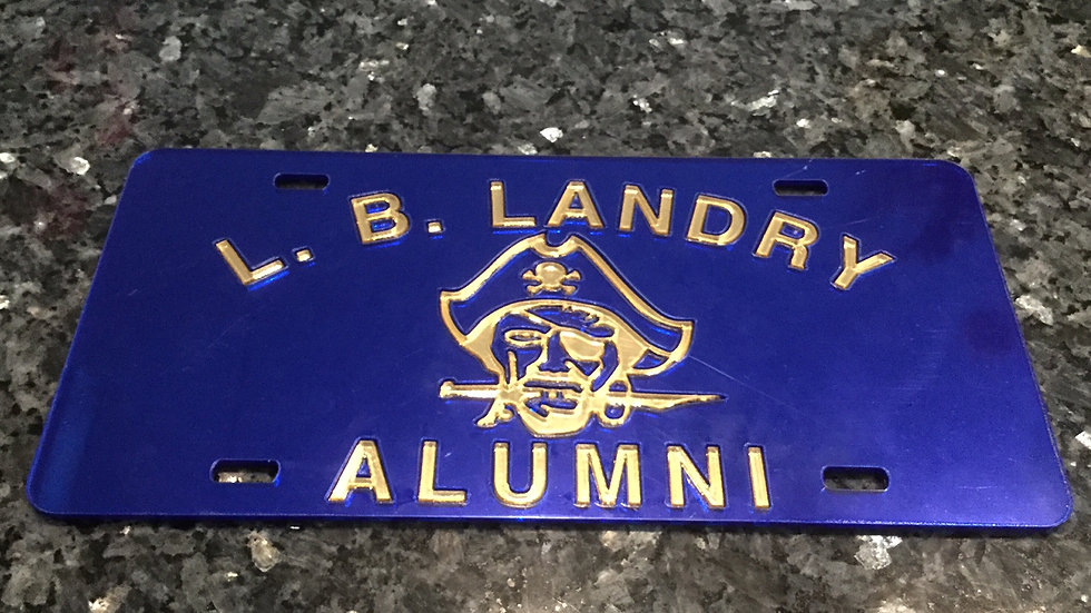 Landry Alumni License Plate Blue with Gold
