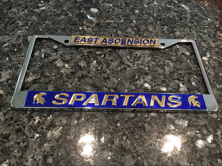 East Ascension License Plate Frame in Gold with blue details