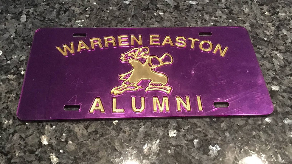 Warren Easton Alumni License Plate Purple with Gold Lettering