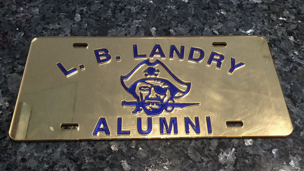 Landry Alumni License Plate Gold with Blue