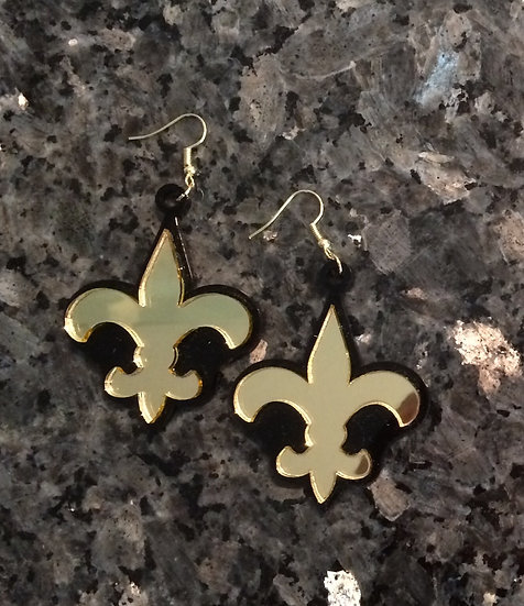 Fleur De Lis Earrings (with wings) in Gold and Black Acrylic