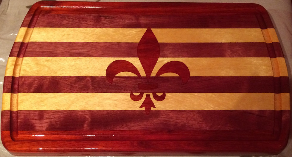 "Small Fleur De Lis In-laid Mardi Gras Cutting Board 14"" x 9"""