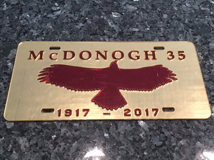 McD35 Alumni License Plate in Gold with Maroon details