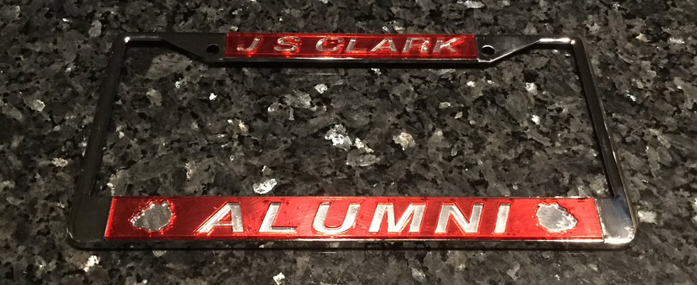 J. S. Clark License Plate Frame in Red with silver details