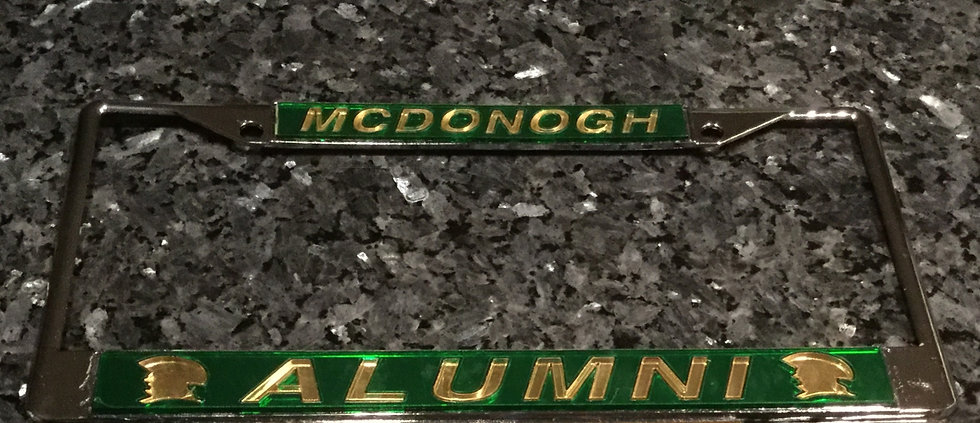John McDonogh High School Plate Frame Green with Gold Details