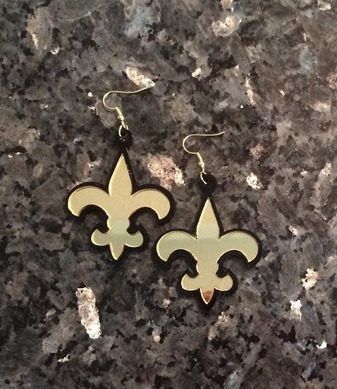 Fleur De Lis Earrings in Gold and Black Acrylic