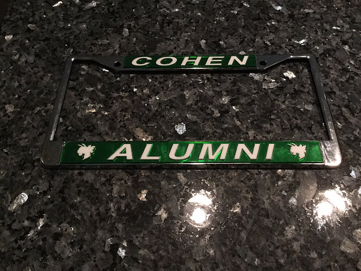 Cohen License Plate Frame in Green with white details