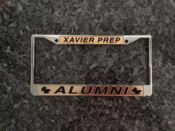 Xavier Prep Alumni License Plate Frame Gold with Black