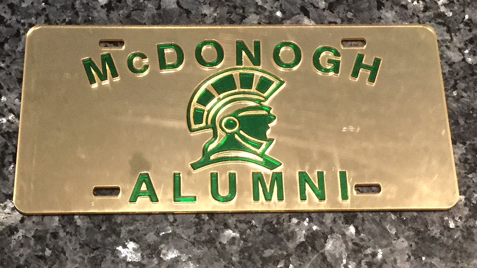John McDonogh License Plate in Gold with Green details