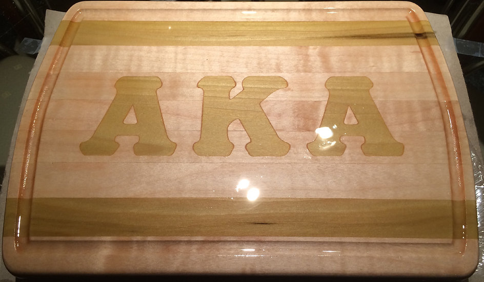 "Small Greek Letter In-laid Cutting Board 14"" x 9"""