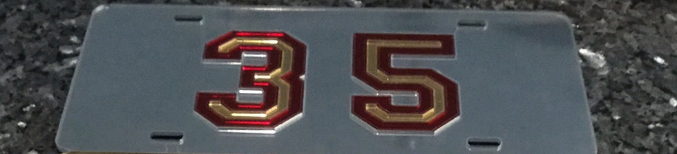 "McD35 ""35 Nuff Said"" License Plate with Silver BG and gold & maroon details"
