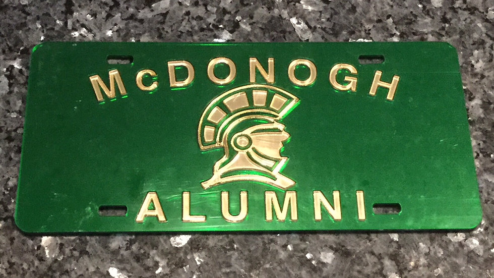 John McDonogh License Plate in Green with Gold details