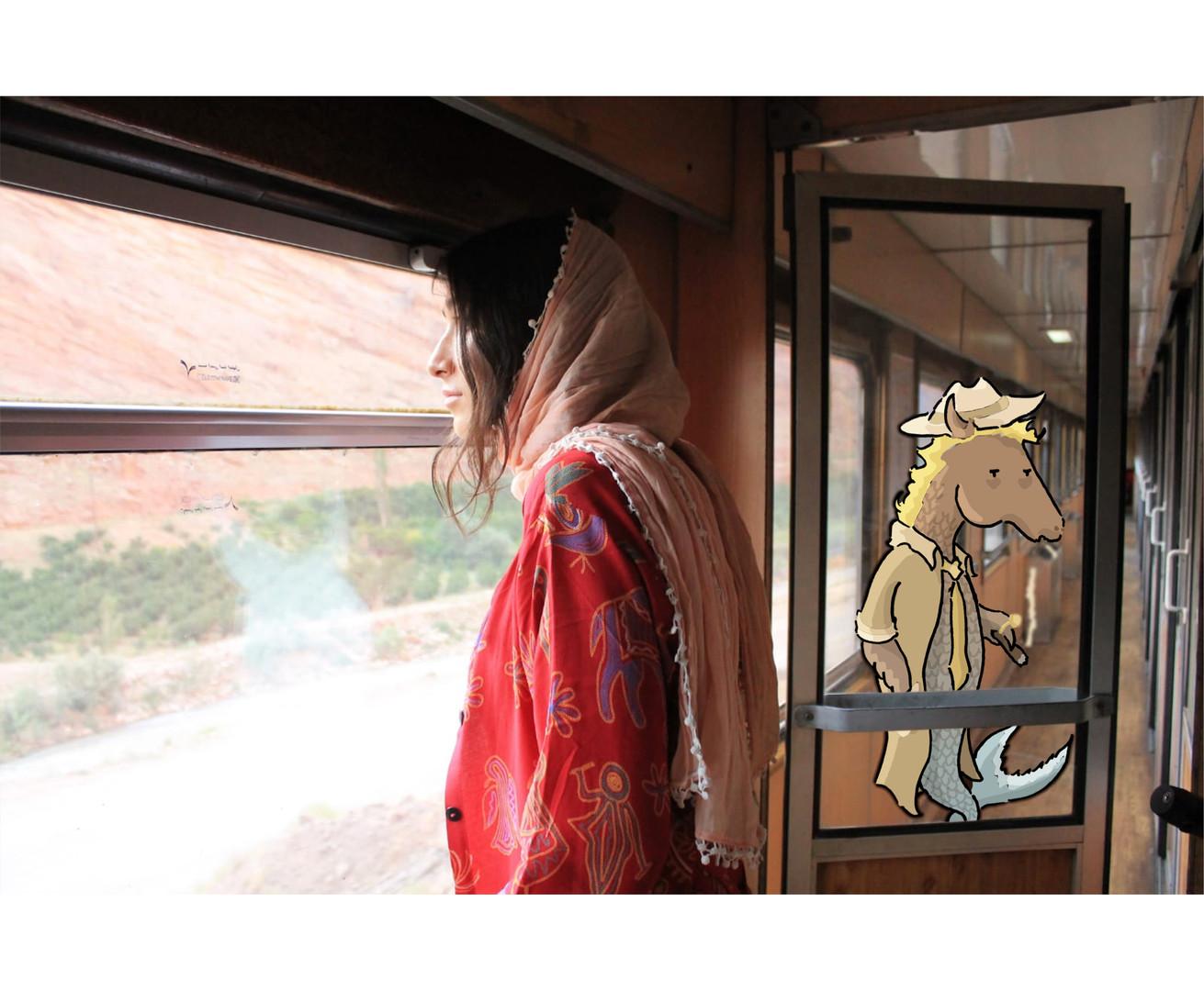 In a train .  Northern Iran
