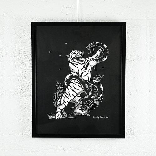 Tiger Vs. Snake Print on Paper