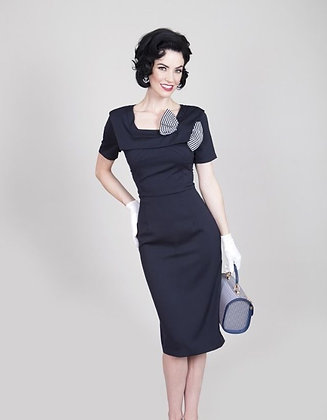 Big Bow Pencil Dress Navy