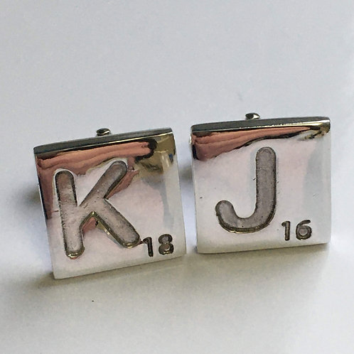 Scrabble Type Cufflinks, Any Letter and Number.