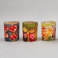 Candle Holders with a decorated Watercol