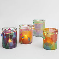 Candle Holders decorated with Tissue Pap
