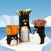 Cardboard tubes decorated as penguins.jp
