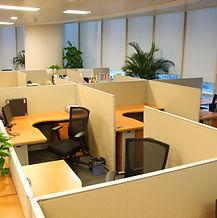 Corporate office settings showing desks,