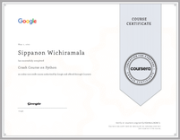 Course Certificate Crash Course on Python