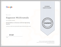 Course Certificate Using Python to Interact with the Operating System