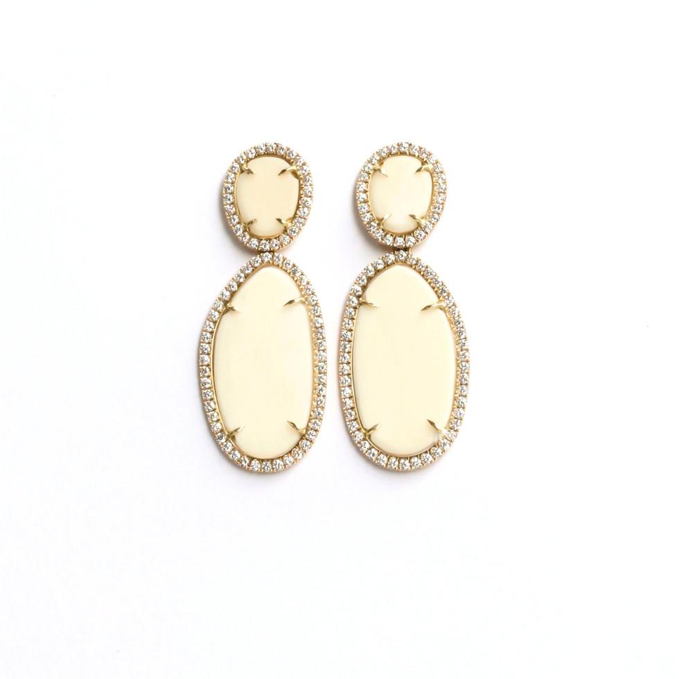 Elfenbein-Diamant-Ohrringe