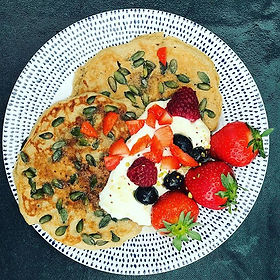 Buckwheat pancakes with pumpkin seeds, c