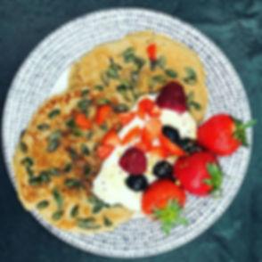 Buckwheat pancakes with pumpkin seeds, c