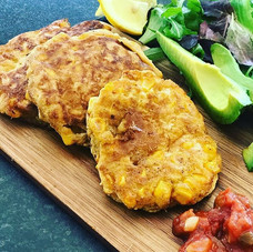 Sweetcorn fritters, sweet, savoury, spic