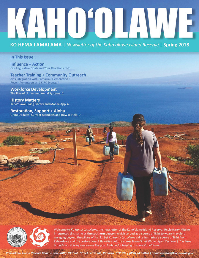 Pueo project with National Geographic at the Kaho'olawe Ko Hema Lamalama (Newsletter of the Kaho