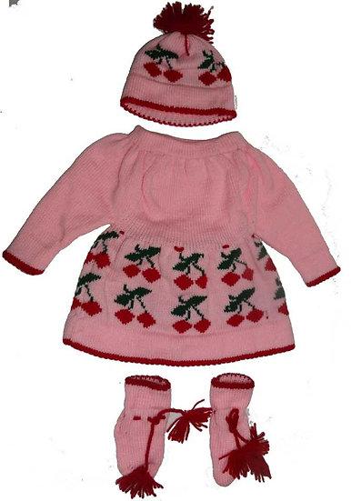 woolen baby set pink cherry design