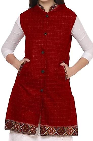 ARUNA KULLU HANDLOOM  Woolen Winter Wear Long Jacket for Women Check RED